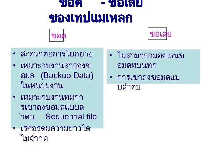 ขอด - ขอเสย ของเทปแมเหลก ขอด • สะดวกตอการโยกยาย • เหมาะกบงานสำรองข อมล (Backup Data) ในหนวยงาน •