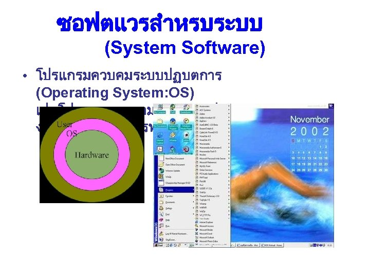 ซอฟตแวรสำหรบระบบ (System Software) • โปรแกรมควบคมระบบปฏบตการ (Operating System: OS) เปนโปรแกรมควบคมระบบการปฏบตการขอ งเครองคอมพวเตอรทงระบบ