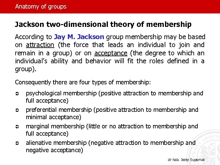 Anatomy of groups Jackson two-dimensional theory of membership According to Jay M. Jackson group