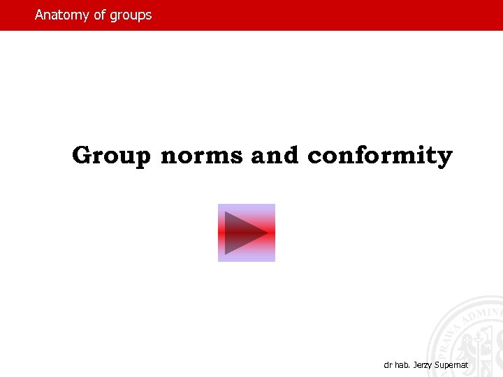 Anatomy of groups Group norms and conformity dr hab. Jerzy Supernat