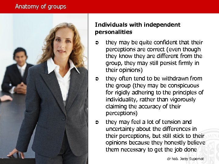 Anatomy of groups Individuals with independent personalities Ü Ü Ü they may be quite