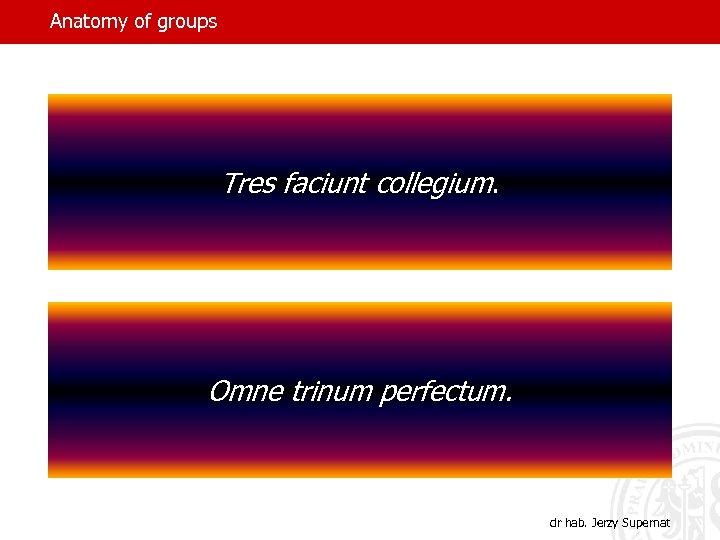 Anatomy of groups Tres faciunt collegium. Omne trinum perfectum. dr hab. Jerzy Supernat