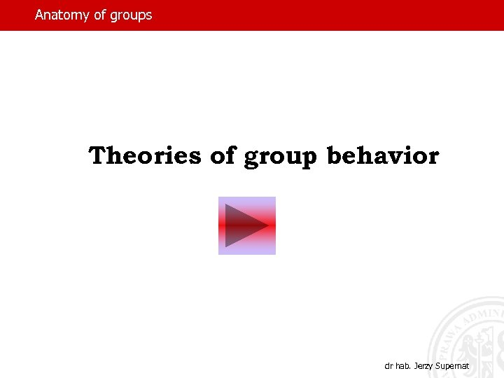 Anatomy of groups Theories of group behavior dr hab. Jerzy Supernat