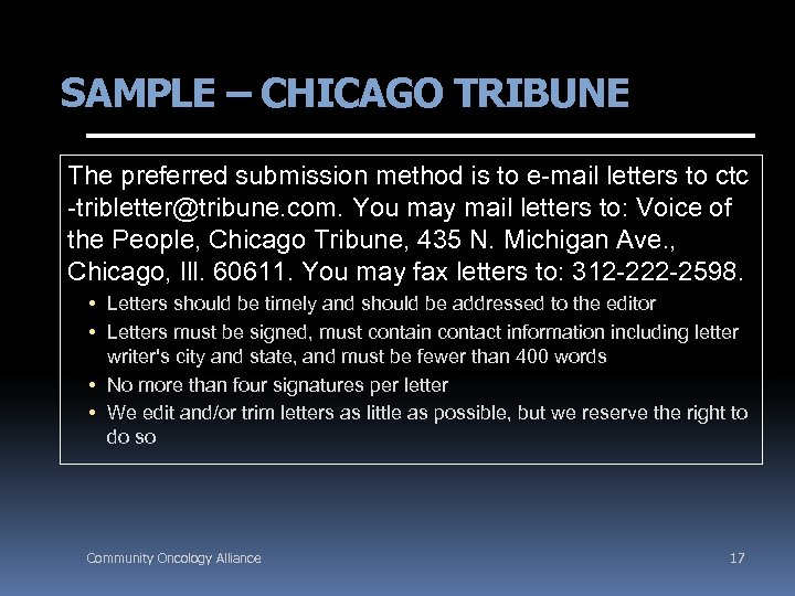 SAMPLE – CHICAGO TRIBUNE The preferred submission method is to e-mail letters to ctc