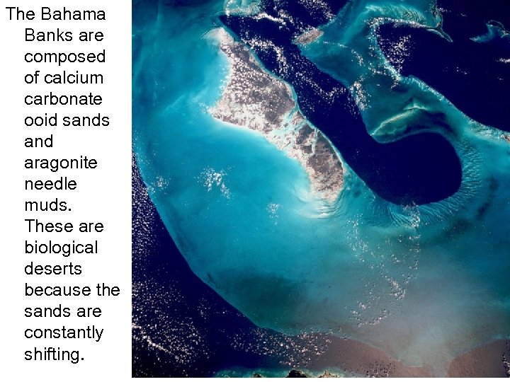 The Bahama Banks are composed of calcium carbonate ooid sands and aragonite needle muds.
