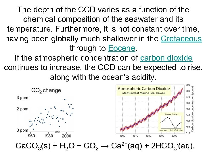 The depth of the CCD varies as a function of the chemical composition of