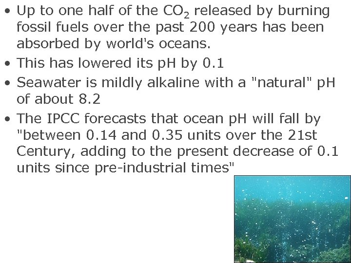 • Up to one half of the CO 2 released by burning fossil