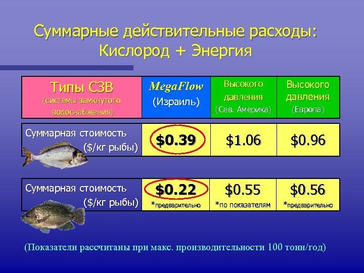 Суммарные действительные расходы: Кислород + Энергия Типы СЗВ (системы замкнутого водоснабжения) Mega. Flow (Израиль)