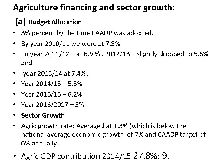 Agriculture financing and sector growth: (a) Budget Allocation • 3% percent by the time