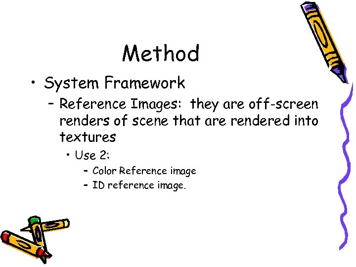 Method • System Framework – Reference Images: they are off-screen renders of scene that