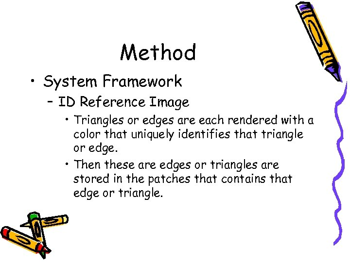 Method • System Framework – ID Reference Image • Triangles or edges are each