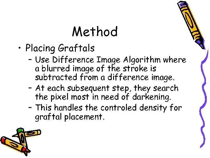 Method • Placing Graftals – Use Difference Image Algorithm where a blurred image of