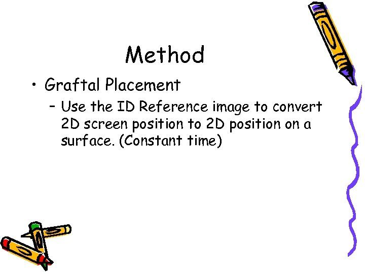 Method • Graftal Placement – Use the ID Reference image to convert 2 D