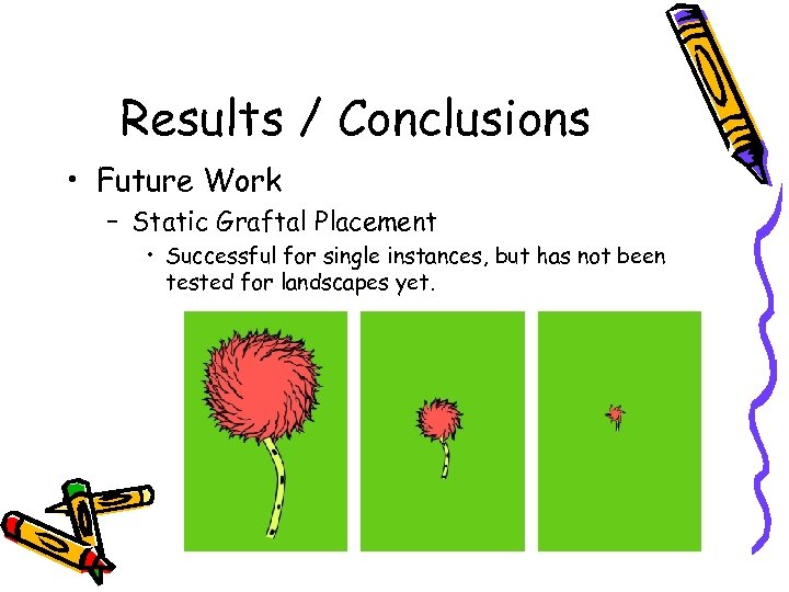 Results / Conclusions • Future Work – Static Graftal Placement • Successful for single