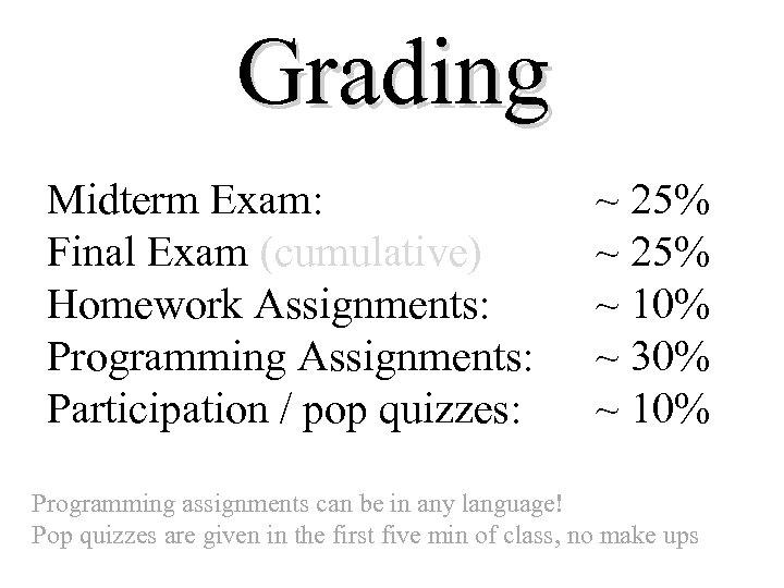 Grading Midterm Exam: Final Exam (cumulative) Homework Assignments: Programming Assignments: Participation / pop quizzes: