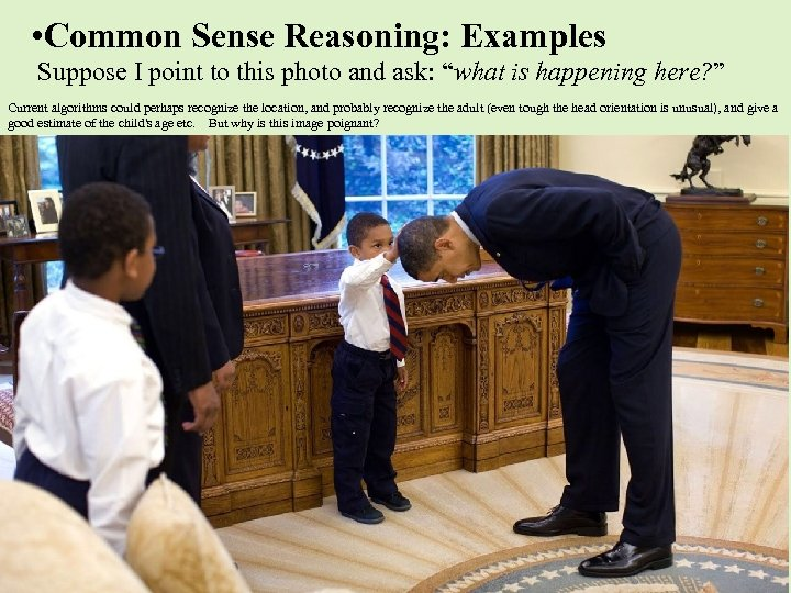 • Common Sense Reasoning: Examples Suppose I point to this photo and ask: