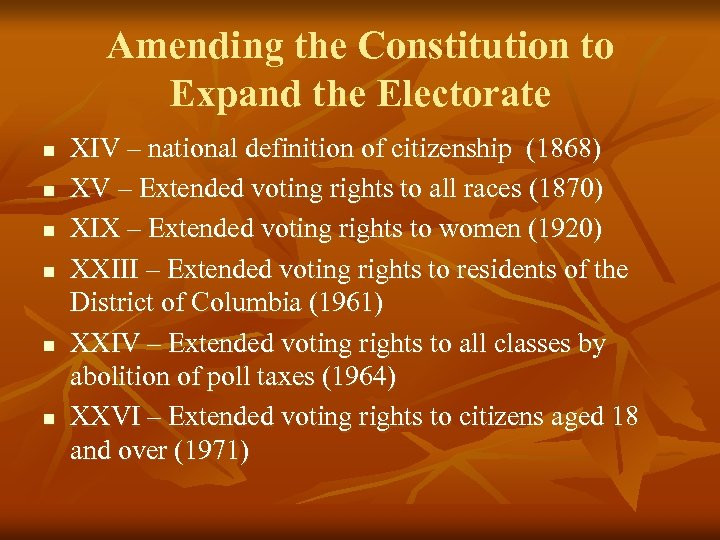 Amending the Constitution to Expand the Electorate n n n XIV – national definition