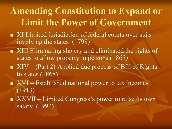 Amending Constitution to Expand or Limit the Power of Government n n n XI