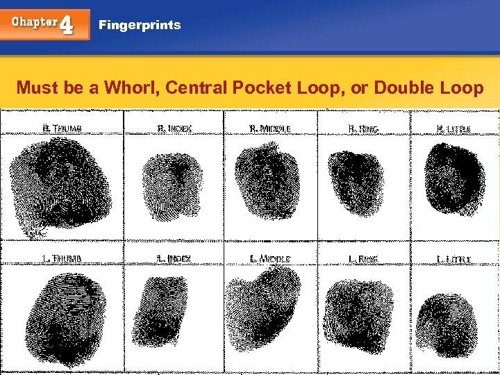 Fingerprints Must be a Whorl, Central Pocket Loop, or Double Loop Chapter 4 Kendall/Hunt