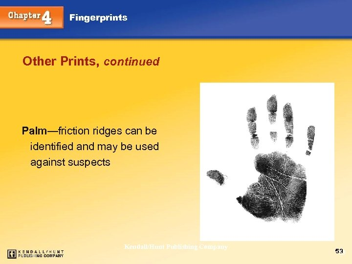 Fingerprints Other Prints, continued Palm—friction ridges can be identified and may be used against