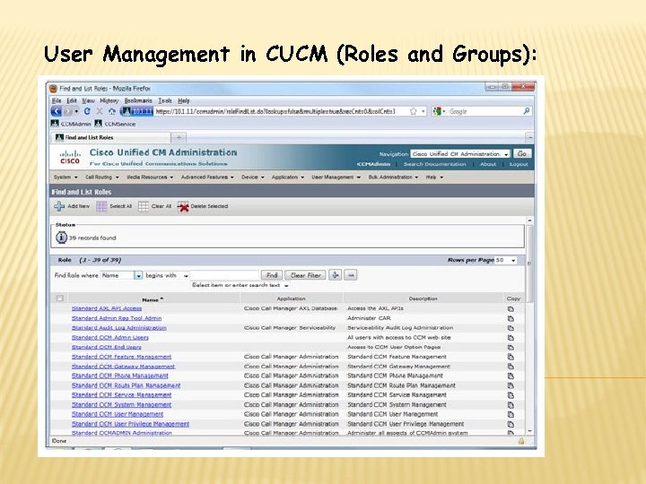 User Management in CUCM (Roles and Groups):