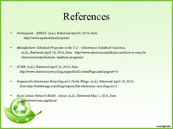References • Participants - EPEAT. (n. d. ). Retrieved April 9, 2014, from http: