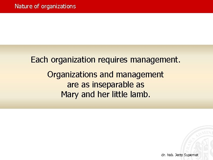 Nature of organizations Each organization requires management. Organizations and management are as inseparable as