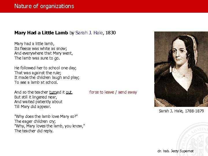 Nature of organizations Mary Had a Little Lamb by Sarah J. Hale, 1830 Mary