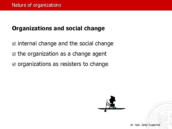 Nature of organizations Organizations and social change þ internal change and the social change