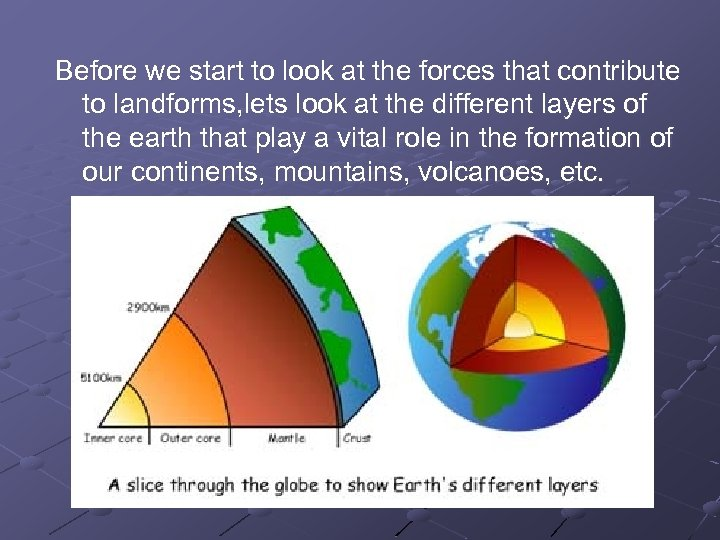 Before we start to look at the forces that contribute to landforms, lets look