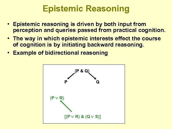 Epistemic Reasoning • Epistemic reasoning is driven by both input from perception and queries