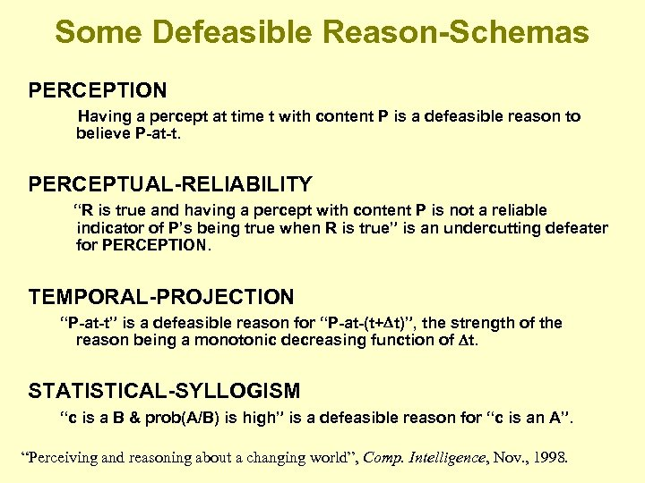 Some Defeasible Reason-Schemas PERCEPTION Having a percept at time t with content P is