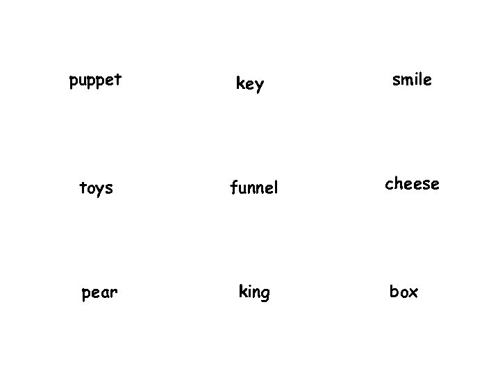 puppet key smile toys funnel cheese pear king box