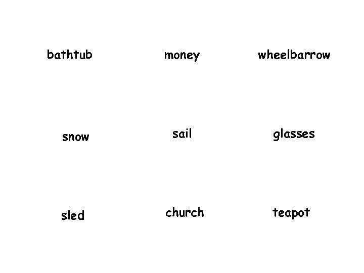 bathtub money wheelbarrow snow sail glasses sled church teapot