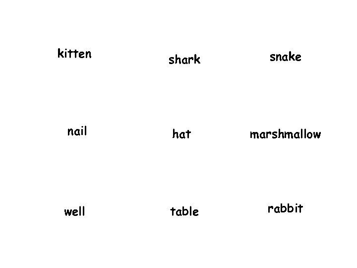 kitten shark snake nail hat marshmallow well table rabbit