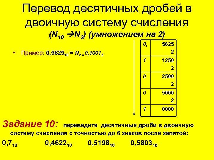 Перевод десятичных дробей в двоичную систему счисления (N 10 N 2) (умножением на 2)