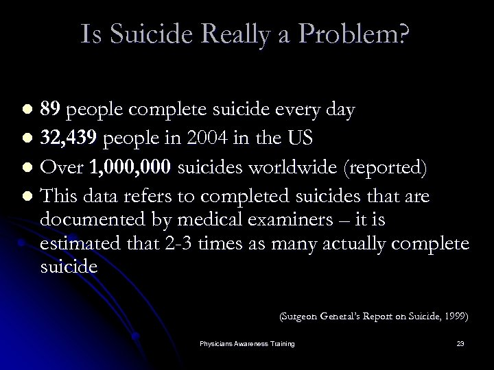 Is Suicide Really a Problem? 89 people complete suicide every day l 32, 439