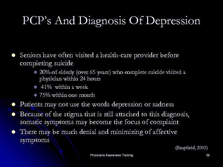 PCP's And Diagnosis Of Depression l Seniors have often visited a health-care provider before