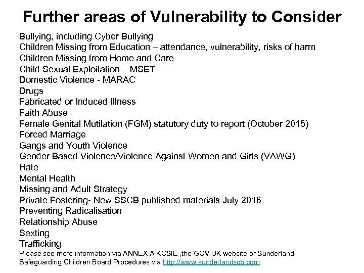 Further areas of Vulnerability to Consider Bullying, including Cyber Bullying Children Missing from Education