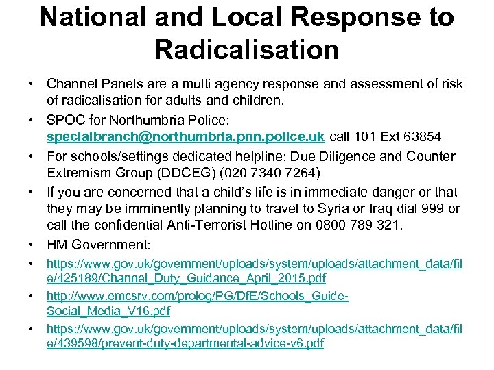 National and Local Response to Radicalisation • Channel Panels are a multi agency response