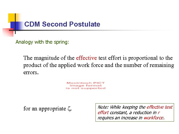 CDM Second Postulate Analogy with the spring: The magnitude of the effective test effort