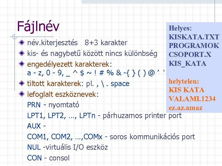 Fájlnév Helyes: KISKATA. TXT PROGRAMOK CSOPORT. X KIS_KATA név. kiterjesztés 8+3 karakter kis- és