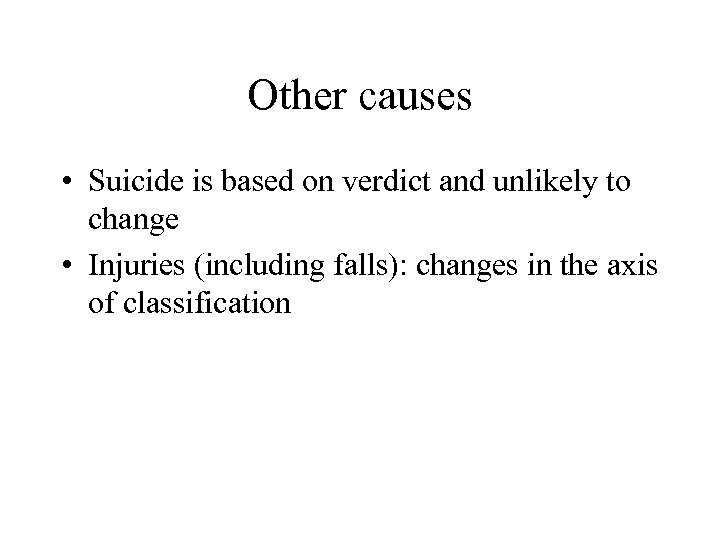 Other causes • Suicide is based on verdict and unlikely to change • Injuries