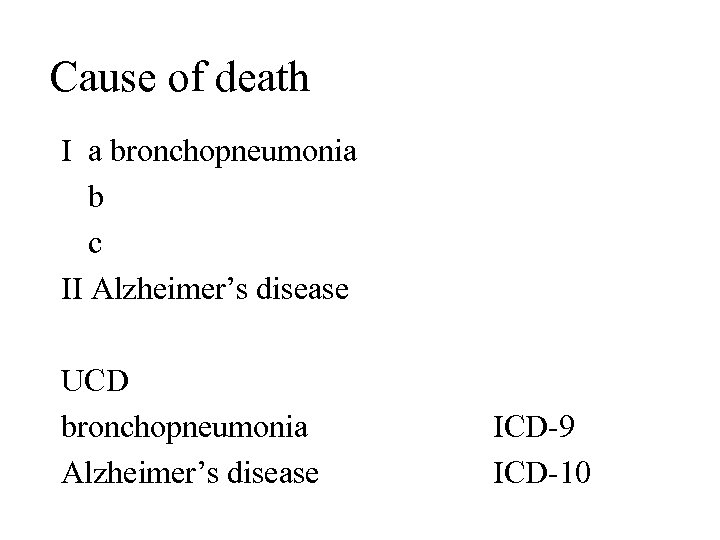 Cause of death I a bronchopneumonia b c II Alzheimer's disease UCD bronchopneumonia Alzheimer's