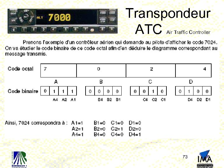 Transpondeur ATC Air Traffic Controller 73