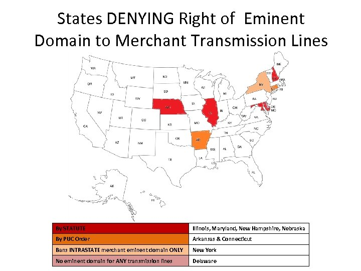 States DENYING Right of Eminent Domain to Merchant Transmission Lines By STATUTE Illinois, Maryland,