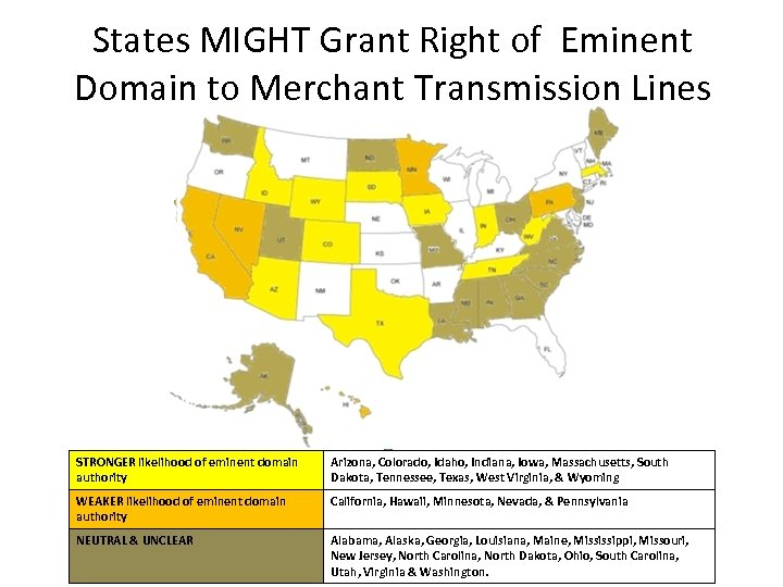 States MIGHT Grant Right of Eminent Domain to Merchant Transmission Lines STRONGER likelihood of