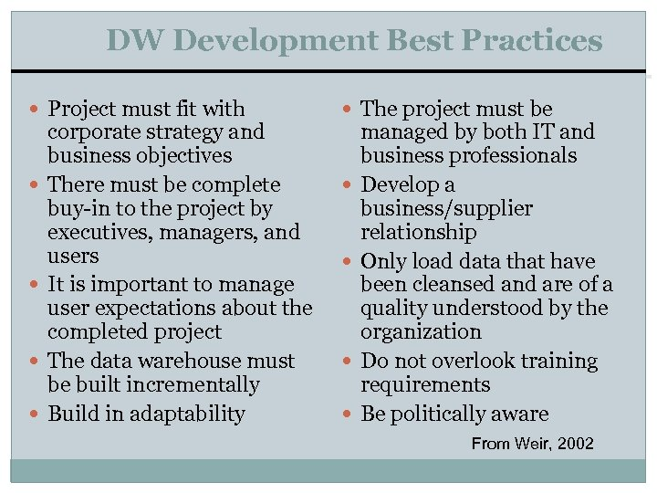 DW Development Best Practices Project must fit with The project must be corporate strategy