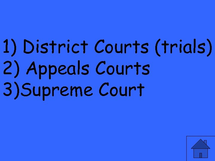 1) District Courts (trials) 2) Appeals Courts 3)Supreme Court