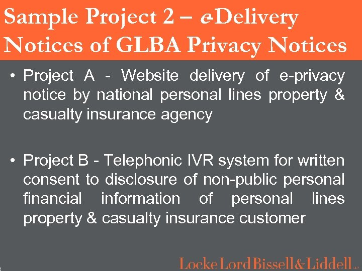 2 Sample Project 2 – e-Delivery Notices of GLBA Privacy Notices • Project A